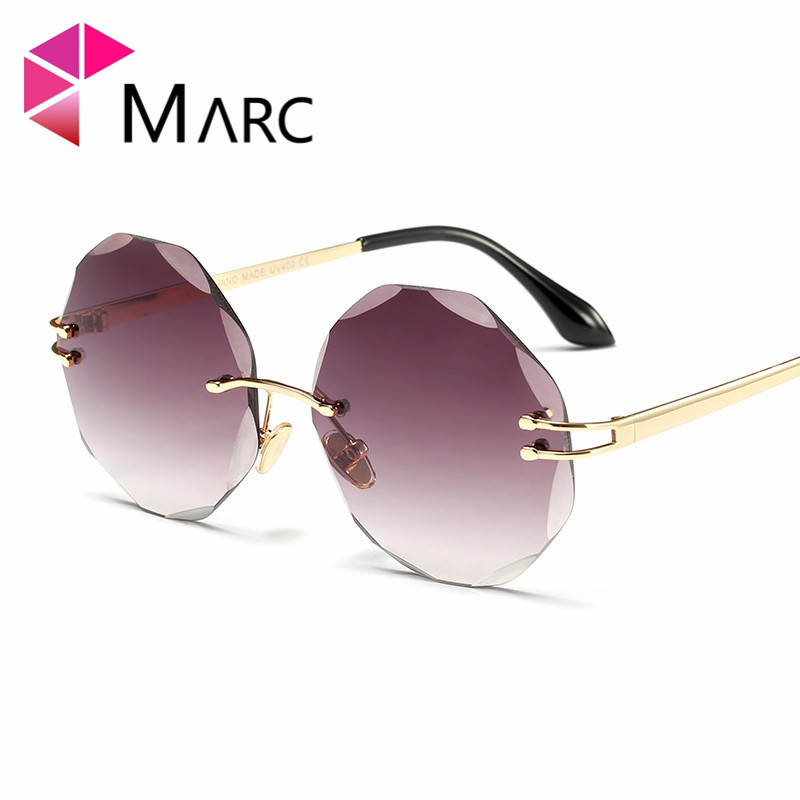 deca803a76ee0 ... MARC UV400 WOMEN sunglasses Gradient Square Sol gafas eyewear Men  Oculos Polarized White Round shield Clear Metal alloy Rimless. Sale!  Previous